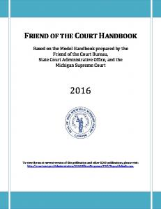 This picture is what a copy of the Friend of the Court Handbook looks like